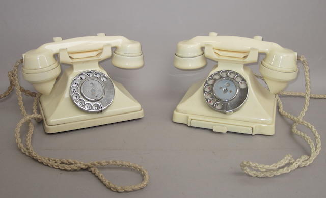 Two 200-series ivory bakelite telephones: impressed marks: both for 164 56