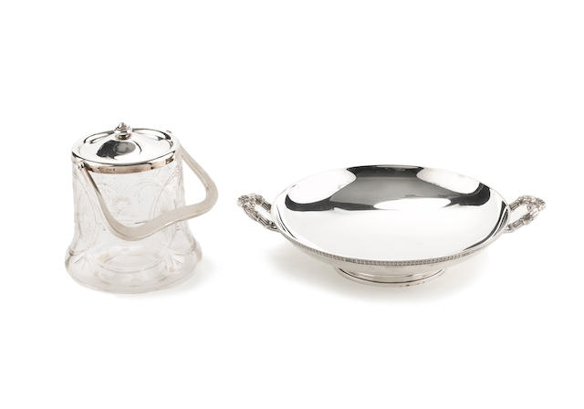 A silver two-handled dish, by Elkington & Co, Birmingham 1932, and a silver mounted biscuit barrel, by Mappin & Webb, Birmingham 1913, (2)