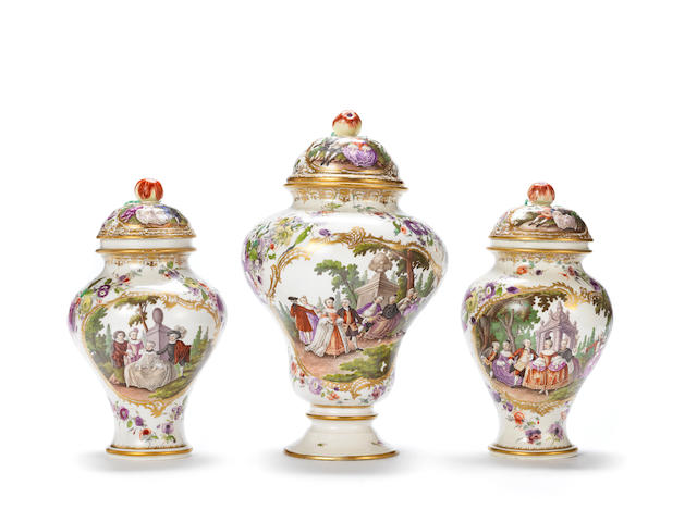 A very rare Frankenthal garniture of three vases and covers, circa 1756-59