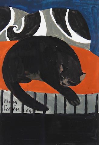 Mary Fedden R.A. (British, born 1915) Cat sleeping on a red cushion