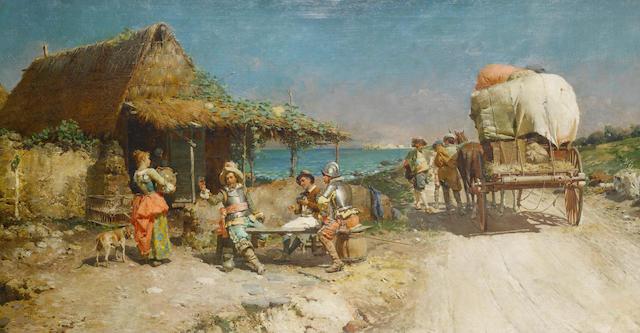 Cesare Auguste Detti (Italian, 1847-1914) Refreshments at a wayside inn