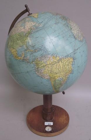 A Dr Krauses 13-inch terrestrial globe