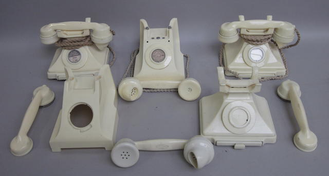 Ivory bakelite 200 and 300-series telephones