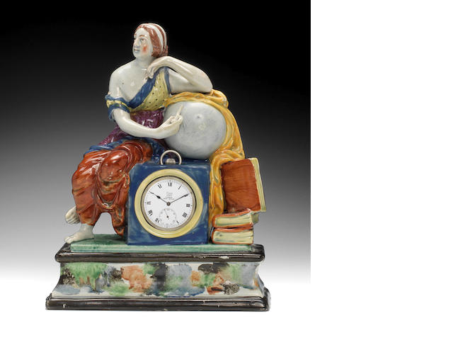 A Staffordshire watch holder, circa 1800