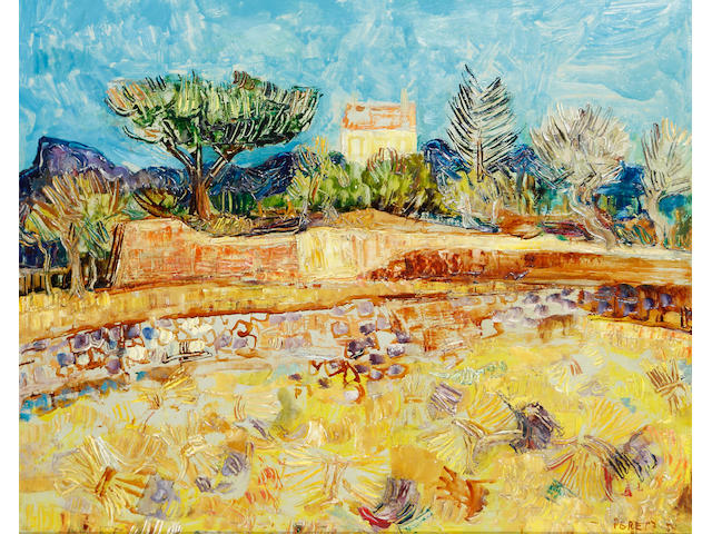 David Peretz (French, born 1906) Landscape with yellow house