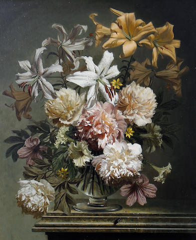 Bennett Oates (British, 1928-2009) Arrangement of peonies and lilies on a marble ledge