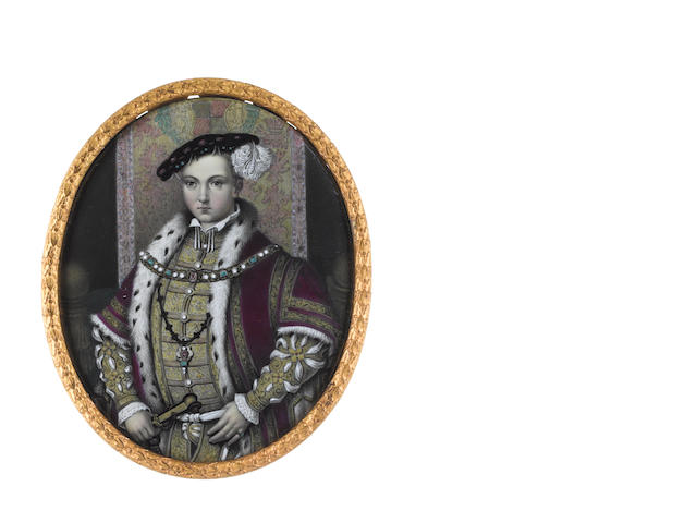 After William Scrots, 19th Century Edward VI (1537–1553), standing before a tapestry, wearing gold doublet slashed to reveal white chemise, the collar and lace cuffs of which are visible, crimson ermine trimmed cloak with gold embroidery, gold chain set with emeralds, pearls and rubies,  emerald ring, his left hand resting on his dagger, his black hat set with emeralds, pearls and rubies and dressed with a white plume