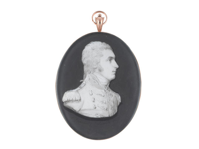 Samuel Andrews (Irish, circa 1767-1807) Lieutenant Colonel Matthew Merrick Shawe, bust-length, semi-profile to the right, wearing coat with lace to the button holes, epaulettes, stock, his hair tied with a ribbon bow