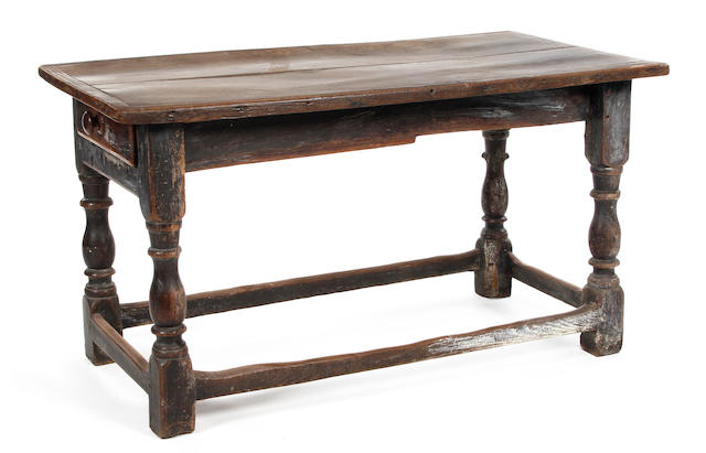 A 17th Century and later oak refectory type table Reduced in size