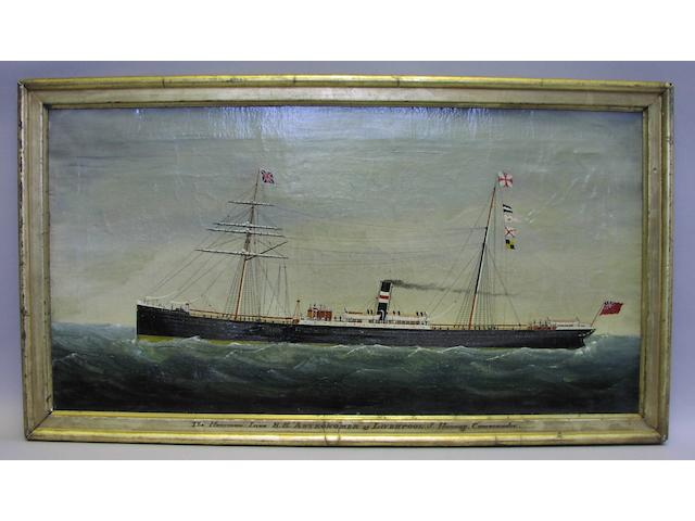 English School, 19th century. The Harrison Line steamship Astronomer at sea. 14.5x28.5in. (37x72cm)
