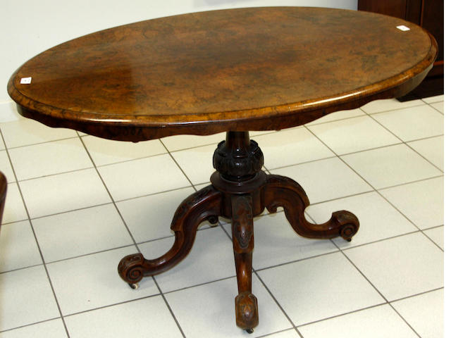 A mid-Victorian walnut small loo table,