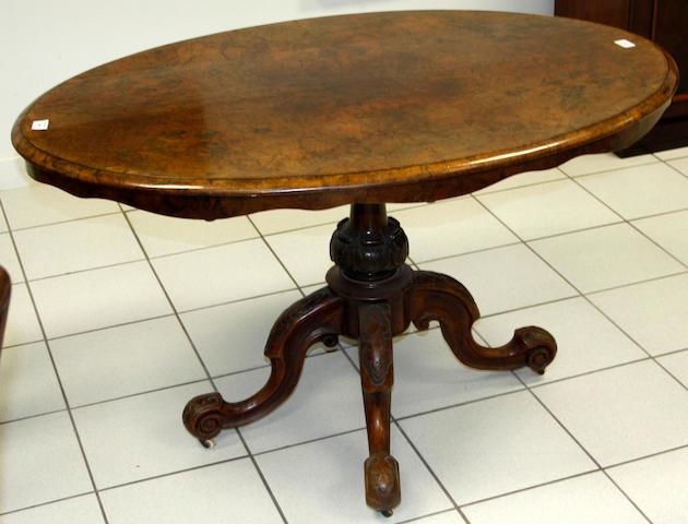 A mid-Victorian walnut small loo table,