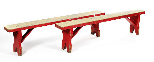 A pair of pine painted benches