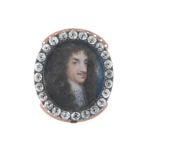 Circle of Samuel Cooper (British, 1609-1672) Charles II (1630–1685), wearing white lace falling collar and long natural wig