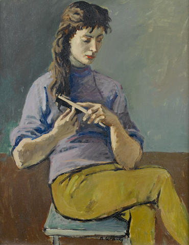Nicolai Cikovsky (Russian, 1894-1987) Portrait of a young girl preening