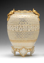 A fine Royal Worcester reticulated vase by George Owen