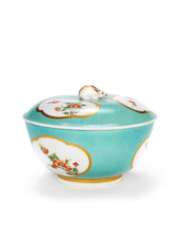 A rare Meissen turquoise-ground bowl and cover from the Japanese Palace, circa 1730