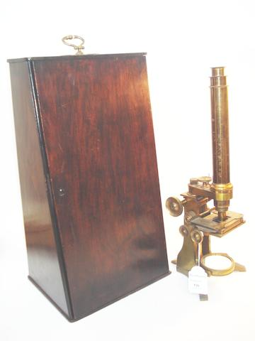 A Baker brass compound monocular microscope,  English,  circa 1880,
