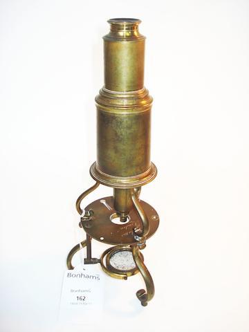 A George Adams brass Culpeper-type microscope, English,  circa 1800,