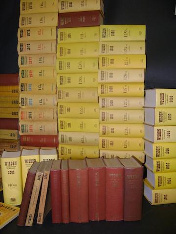 A collection of Wisden Cricket Almanacks 1942 to 2003