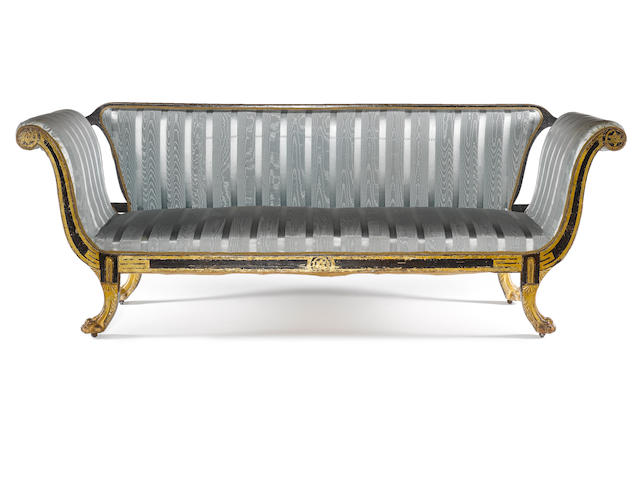 A Regency faux rosewood and parcel gilt sofa