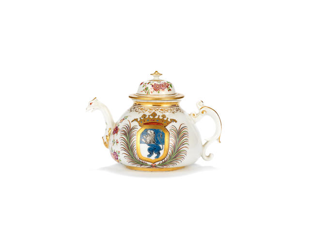 An unrecorded Meissen armorial teapot and a cover, circa 1725