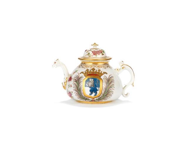 An unrecorded Meissen armorial teapot and a cover, circa 1725