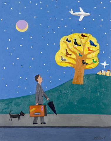 Robert Hardy (British, born 1952) 'Traveller with chorus of birds'