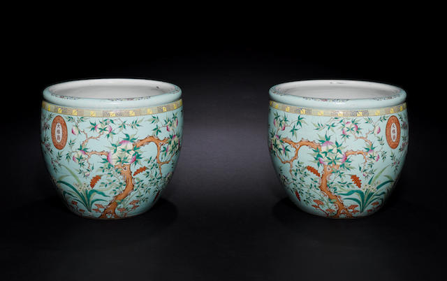 A very large pair of famille rose turquoise-ground 'peach' fishbowls Da Ya Zhai marks, Guangxu