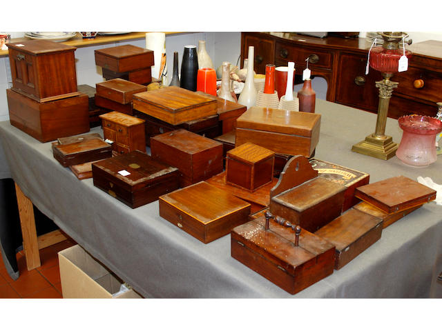 A quaintity of 19th Century mahogany artists pallet boxes,and other writing boxes etc