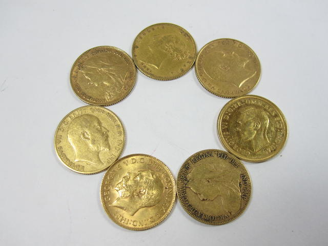 A collection of half sovereigns (7)
