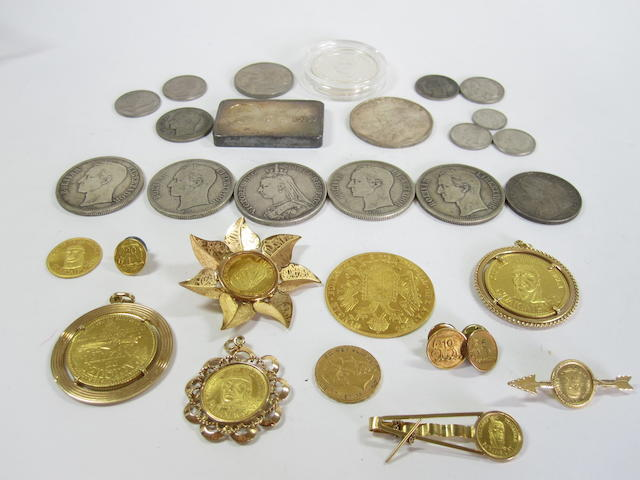 A collection of coin-set jewellery