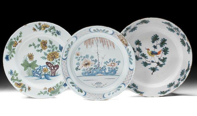 Four English delftware polychrome dishes, circa 1750-60