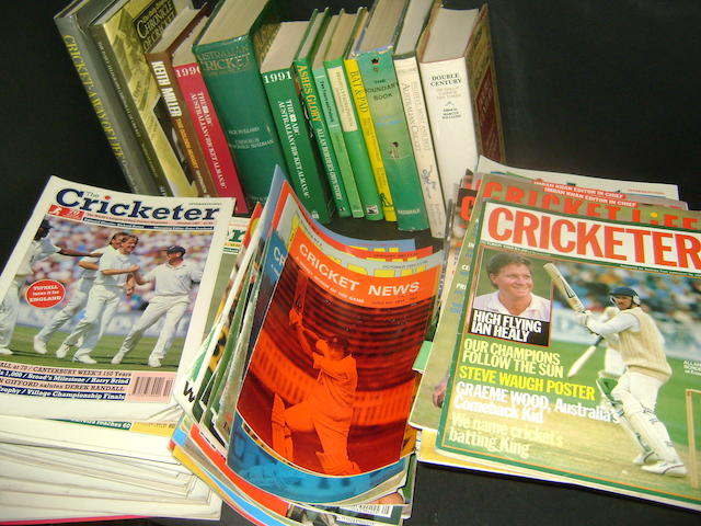 A large collection of cricket books including New Zealand and South African annuals/almanacks