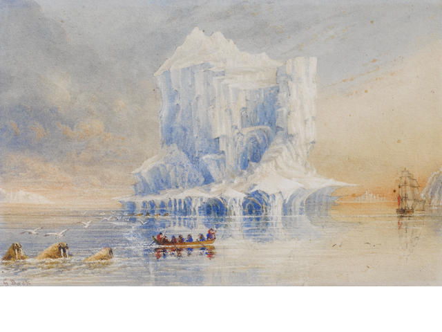 George Back, watercolour view of the Terror in the Canadian Arctic