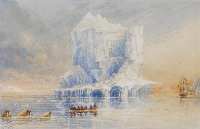 Admiral Sir George Back (British, 1796-1878) H.M.S. Terror and one of her boats off a spectacular iceberg, apparently in the Davis Strait, between Canada and Greenland