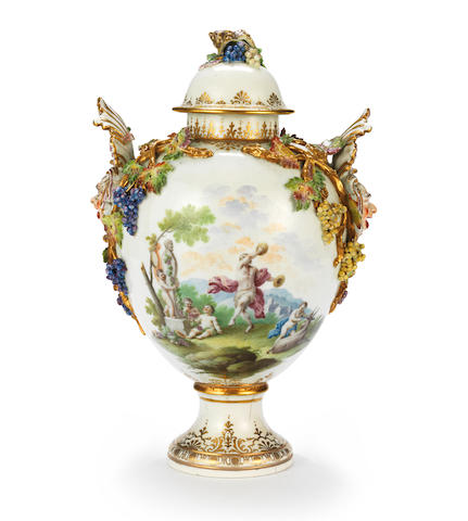 A rare and important Capodimonte vase and cover, circa 1750