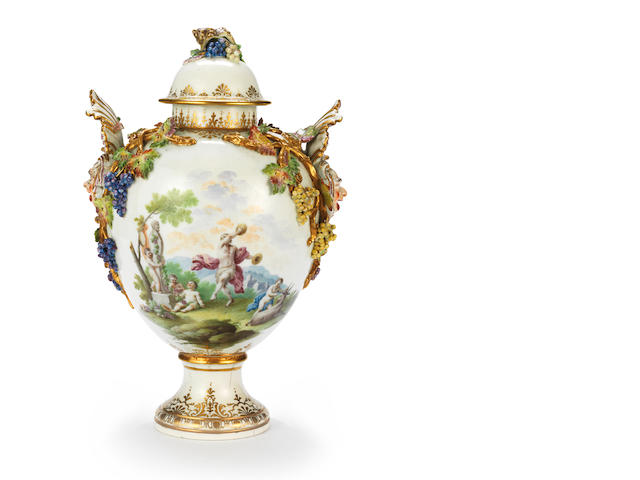 A rare and important Naples, Capodimonte vase and cover, circa 1750