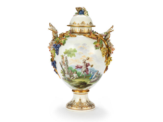 A rare and important Capodimonte vase and cover, circa 1750