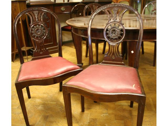 A good set of ten mahogany dining chairs, 20th Century