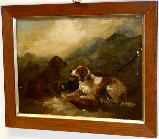 Circle of George Armfield (British, 1810-1893) Three retrievers with a pheasant in a Highland landscape