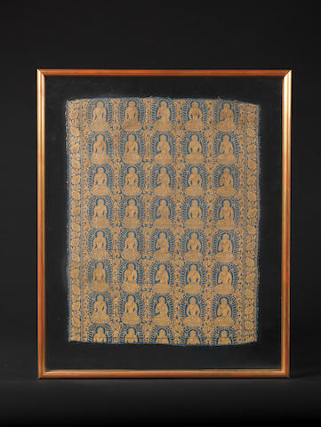 A very rare blue silk 'Dhyani Buddhas' lampas brocade panel 10th/13th century