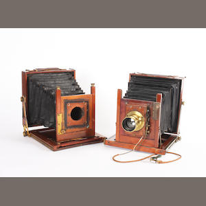 Mahogany and brass half plate field cameras