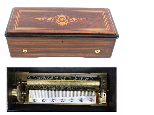 A six air cylinder musical box, circa 1880,