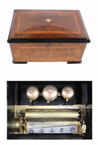 A ten air cylinder musical box with bells, circa 1890,