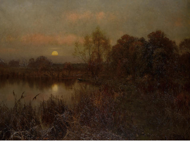 Edward Wilkins Waite, RBA (British, 1854-1924) Autumn moonrise