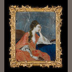 A mirror painting in gilt frame of a seated lady 18th century