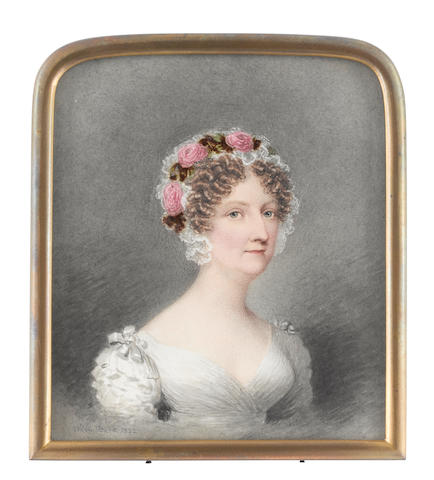 Adam Buck (Irish, 1759-1833) A Lady, wearing white dress with ribbon rosettes at her shoulders, her hair upswept and curled in tight ringlets, her white lace bonnet dressed with a wreath of pink roses