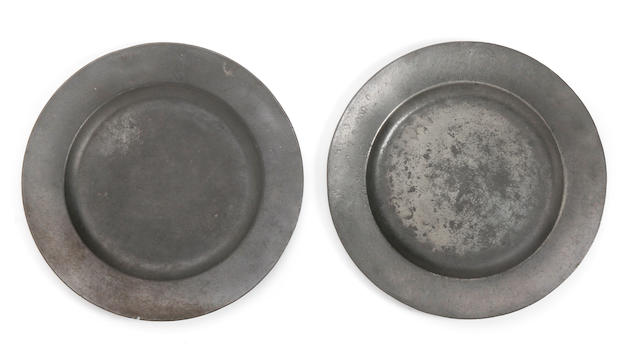 A pair of plain rim plates, circa 1720