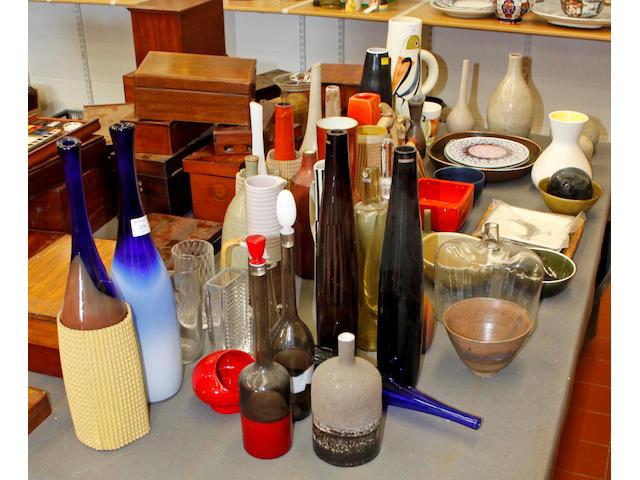 A quantity of Scandanavian decorative ceramics and glass